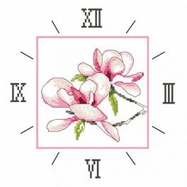 Aida z nadrukiem - Zegar z magnolią