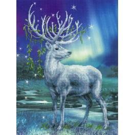 Zestaw z muliną i podmalowanym tłem - Biały jeleń