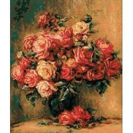 Zestaw z muliną - Bukiet róż wg. Pierre-August Renoir's