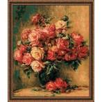 RIO 1402 Zestaw z muliną - Bukiet róż wg Pierre-August Renoir's