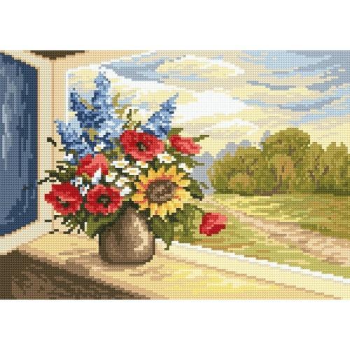 Zestaw z muliną - Kwiaty w oknie