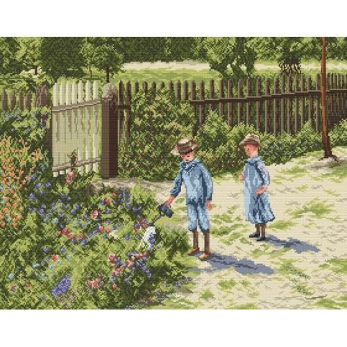 Zestaw z muliną - Dzieci w ogrodzie - W. Podkowiński