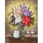 Zestaw z muliną - Kwiaty na komodzie