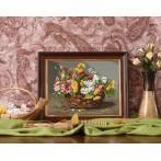 Zestaw z muliną - Kosz barwnych kwiatów
