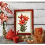 Zestaw z muliną - Czerwone lilie