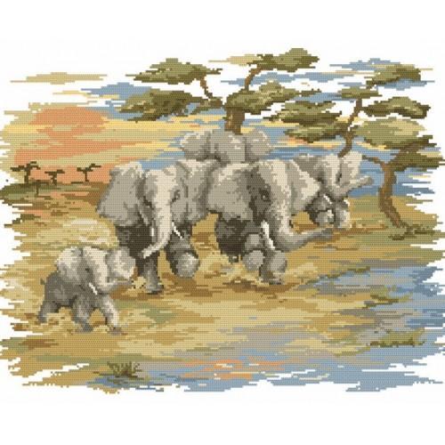 Z 4509 Zestaw do haftu - Pędzące słonie