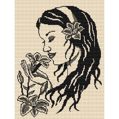 Zestaw z muliną - Dziewczyna z liliami