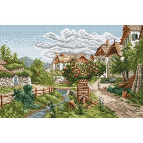 Zestaw z muliną - Pejzaż górskiej wioski