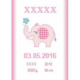 Z 8636-01 Zestaw do haftu - Metryczka ze słonikiem