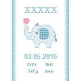 Z 8636-02 Zestaw do haftu - Metryczka ze słonikiem