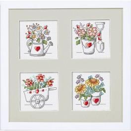 Zestaw z muliną i ramką - Kwiaty z ogródka