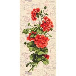Zestaw z nadrukiem, muliną i podmalowanym tłem - Czerwone pelargonie
