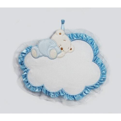Zawieszka – miś śpiący na chmurce niebieski