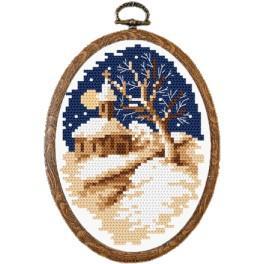 Zestaw nadrukiem, muliną i ramką - Zimowy kościółek