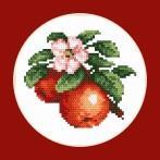 Zestaw nadrukiem, muliną i ramką - Soczyste jabłka