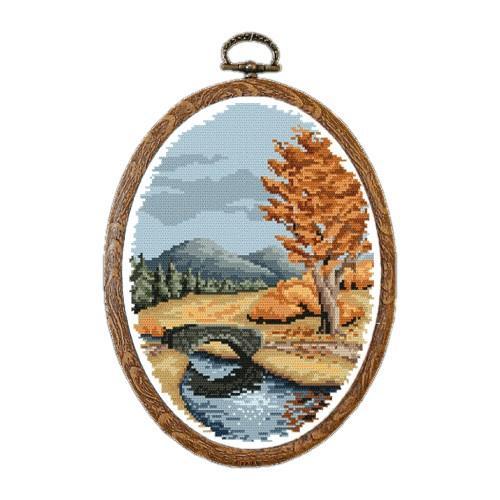 Zestaw nadrukiem, muliną i ramką - Jesień
