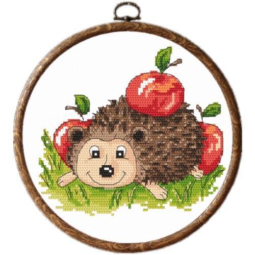 Zestaw nadrukiem, muliną i ramką - Jeżyk z jabłkami