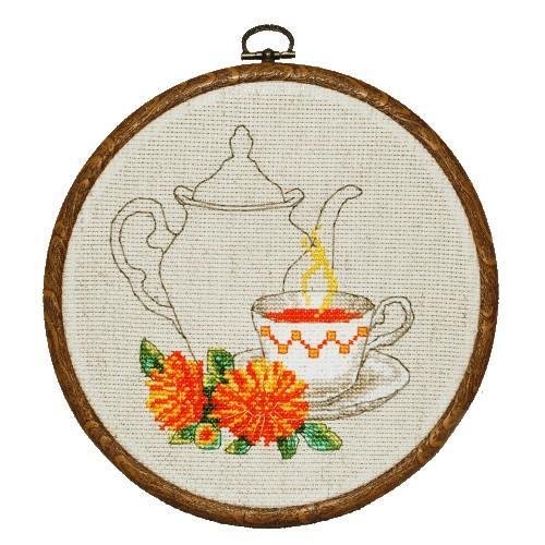 Zestaw nadrukiem, muliną i ramką - Herbatka z nagietka