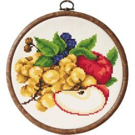 Zestaw nadrukiem, muliną i ramką - Jabłka z winogronami