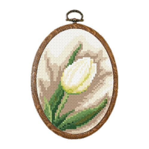 Zestaw nadrukiem, muliną i ramką - Biały tulipan