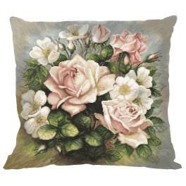 Zestaw z muliną i poszewką - Poduszka - Pastelowe róże