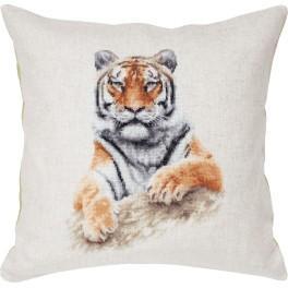 Zestaw z muliną i poszewką - Poduszka - Tygrys