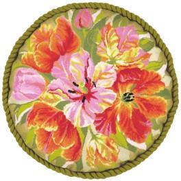 Zestaw z muliną - Tulipany na poduszkę