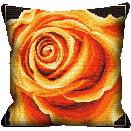Zestaw z muliną i poszewką - Poduszka - Róża żółta