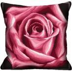 Zestaw z muliną i poszewką - Poduszka - Róża bordowa