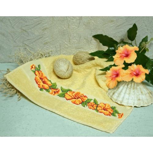 Zestaw z muliną i ręcznikiem - Ręcznik z hibiskusem