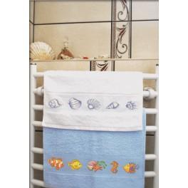 Zestaw z muliną i ręcznikiem - Ręcznik z rybkami
