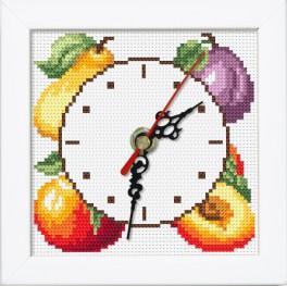 Zestaw z muliną, zegarem i ramką - Zegar z owocami