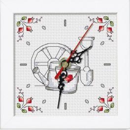Zestaw z muliną, zegarem i ramką - Zegar - Kwiaty z ogródka