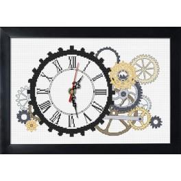 Zestaw z muliną, zegarem i ramką - Zegar steampunkowy