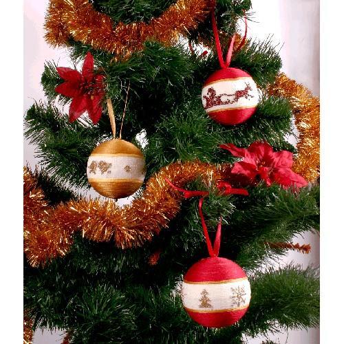 Zestaw z muliną - Świąteczne bombki (czerwono-złote)