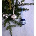 Zestaw z muliną - Świąteczne bombki (granatowo-srebrne)