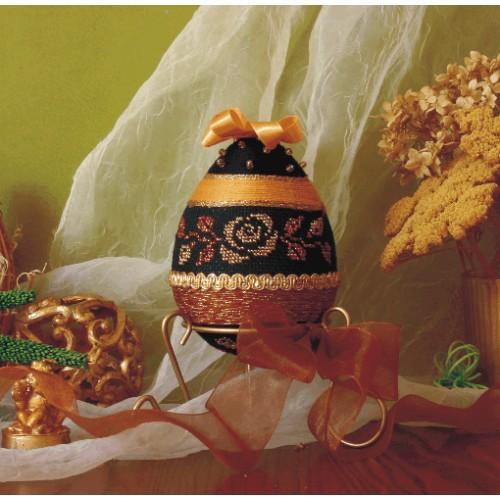 Zestaw z muliną - Dekoracyjne jajko ze złotą różą