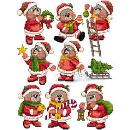 Zestaw z muliną - Ozdoby choinkowe- Świąteczne misie