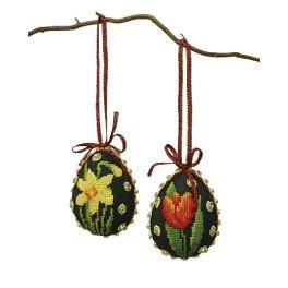 Zestaw z muliną - Pisanki - Kolorowe kwiaty