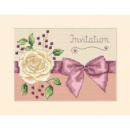 Zestaw z muliną - Kartka - Zaproszenie - Róża