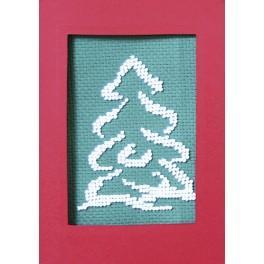 Zestaw z koralikami i kartką - Kartka świąteczna - Ośnieżona choinka