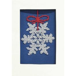 Zestaw z koralikami i kartką - Kartka świąteczna - Śnieżynka