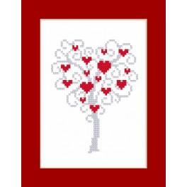 Zestaw z koralikami i kartką - Kartka - Drzewo serc
