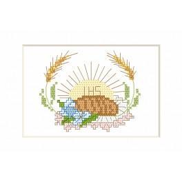 Zestaw z muliną i kartką - Kartka komunijna – Hostia i chleb