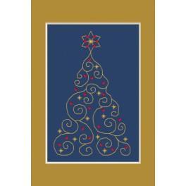 Zestaw z muliną - Kartka świąteczna - Choinka z gwiazdkami