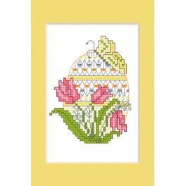 Zestaw z muliną i kartką - Kartka wielkanocna - Pisanka z tulipanami