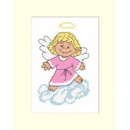 Zestaw z muliną - Kartka z aniołkiem