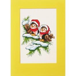 Zestaw z muliną - Kartka - Świąteczne ptaszki