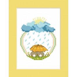 Zestaw z muliną - Kartka - Zajączki w deszczu