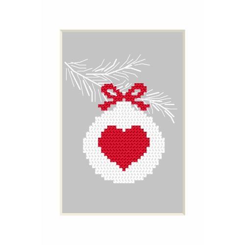 Zestaw z muliną - Kartka bożonarodzeniowa - Bombka z serduszkiem